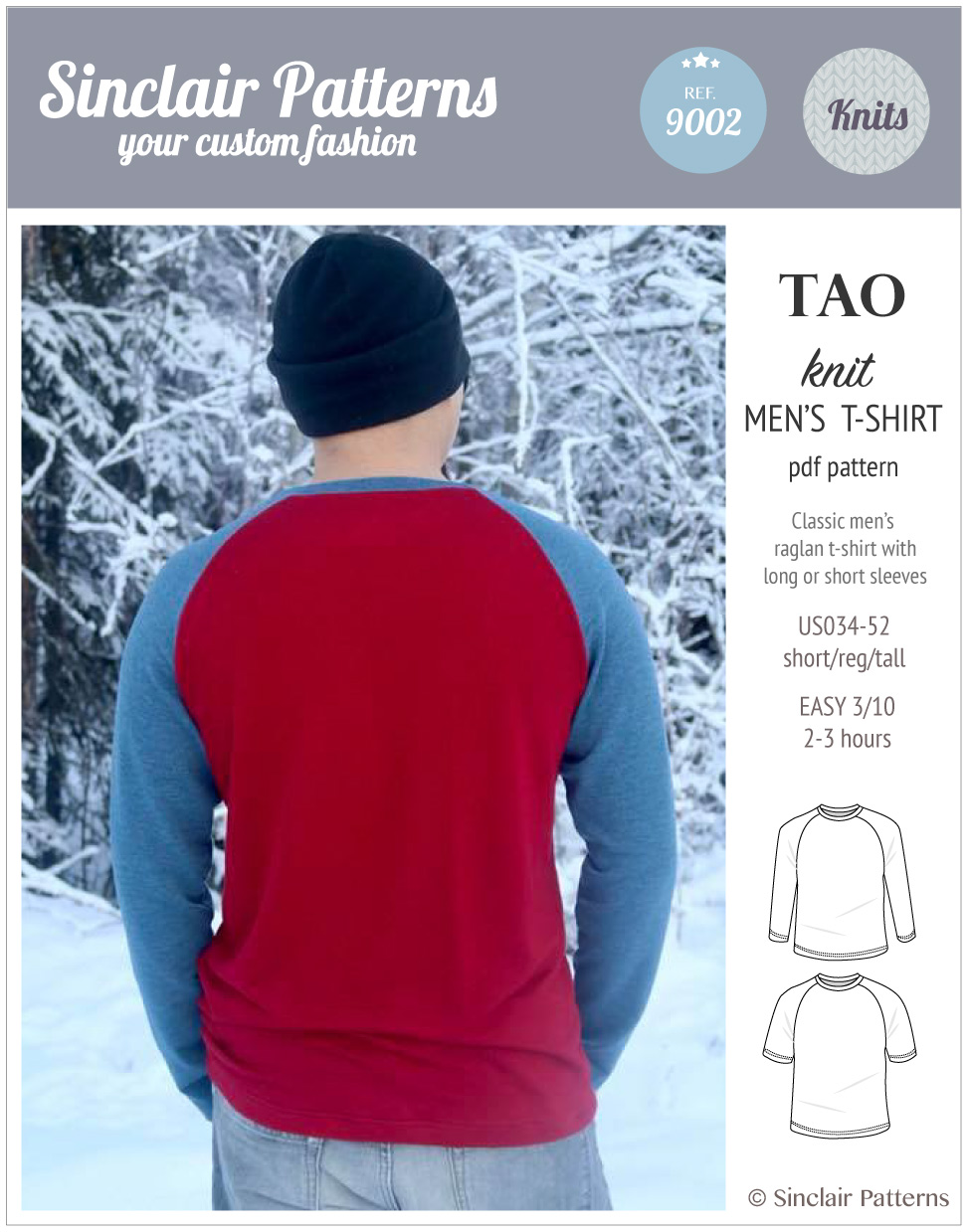 Sinclair Patterns - Pdf sewing pattern Tao classic raglan t-shirt for menPatterns - Pdf sewing pattern Tao classic raglan t-shirt for men