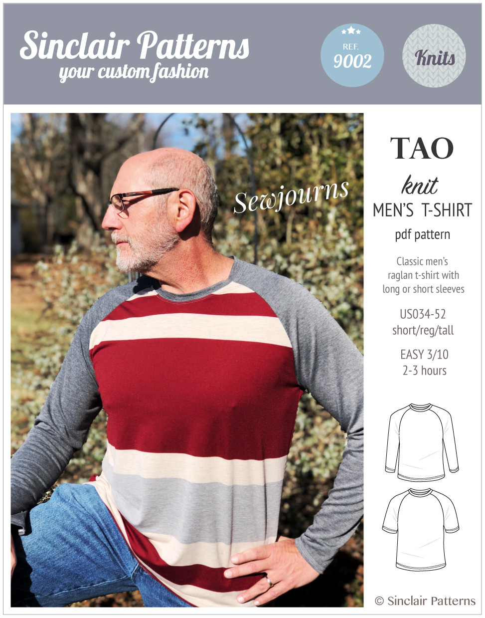 Sinclair Patterns - Pdf sewing pattern Tao classic raglan t-shirt for men