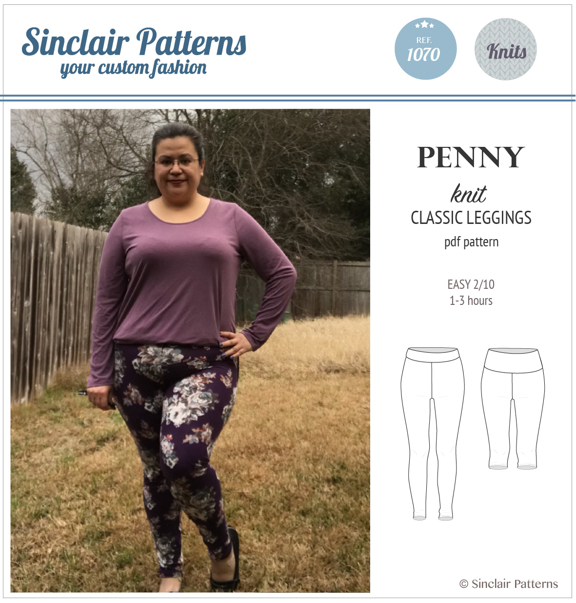 Sinclair Patterns S1070 Penny leggings pdf sewing pattern pdf for women
