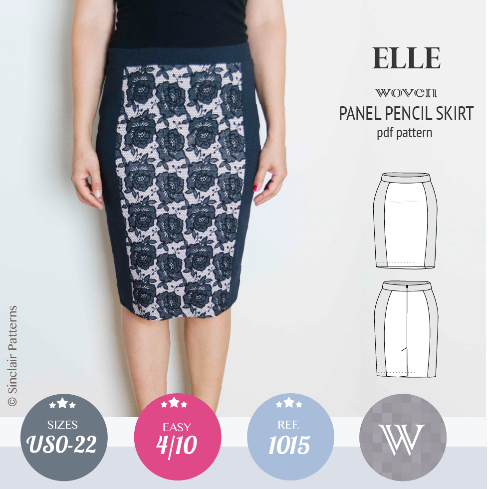Sinclair Patterns Elle panel pencil skirt pdf sewing pattern