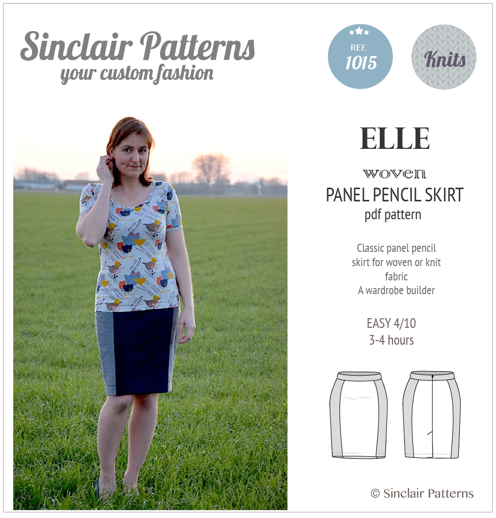 Sewing pattern pdf - Sinclair Patterns Elle panel pencil skirt sewing pattern pdf