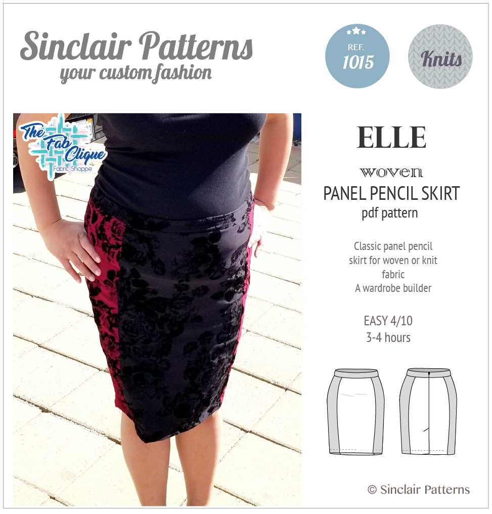 Sewing pattern pdf - Sinclair Patterns Elle panel pencil skirt