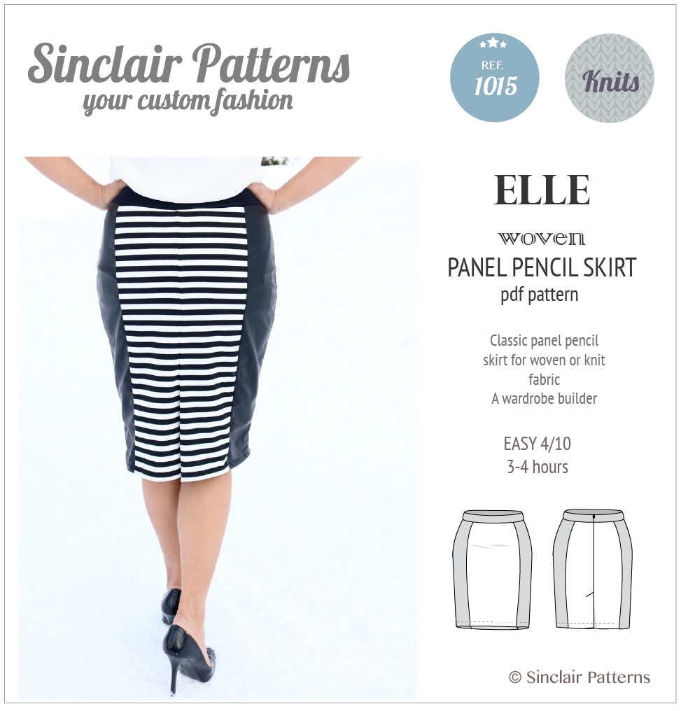 Sewing pattern pdf - Sinclair Patterns Elle panel pencil skirt Sewing pattern pdf - Sinclair Patterns Elle panel pencil skirt