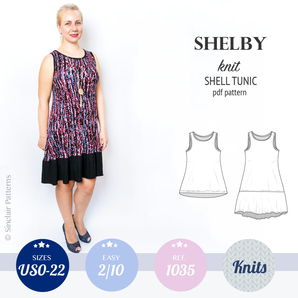 Sewing pattern pdf - Sinclair Patterns shelby knit shell swing tunic