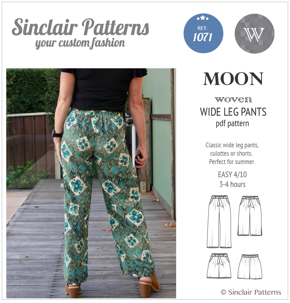 PDF Sewing pattern Sinclair Patterns S1043 Moon wide leg woven pants, culottes or shorts