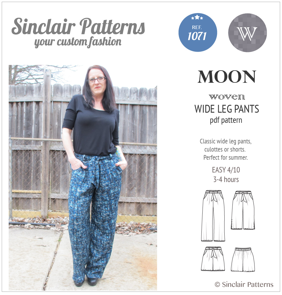 PDF Sewing pattern Sinclair Patterns S1071 Moon wide leg woven pants, culottes or shorts