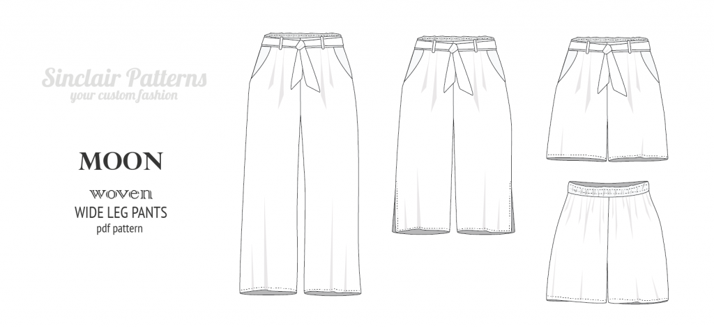 Moon wide leg pants, culottes or shorts (PDF)
