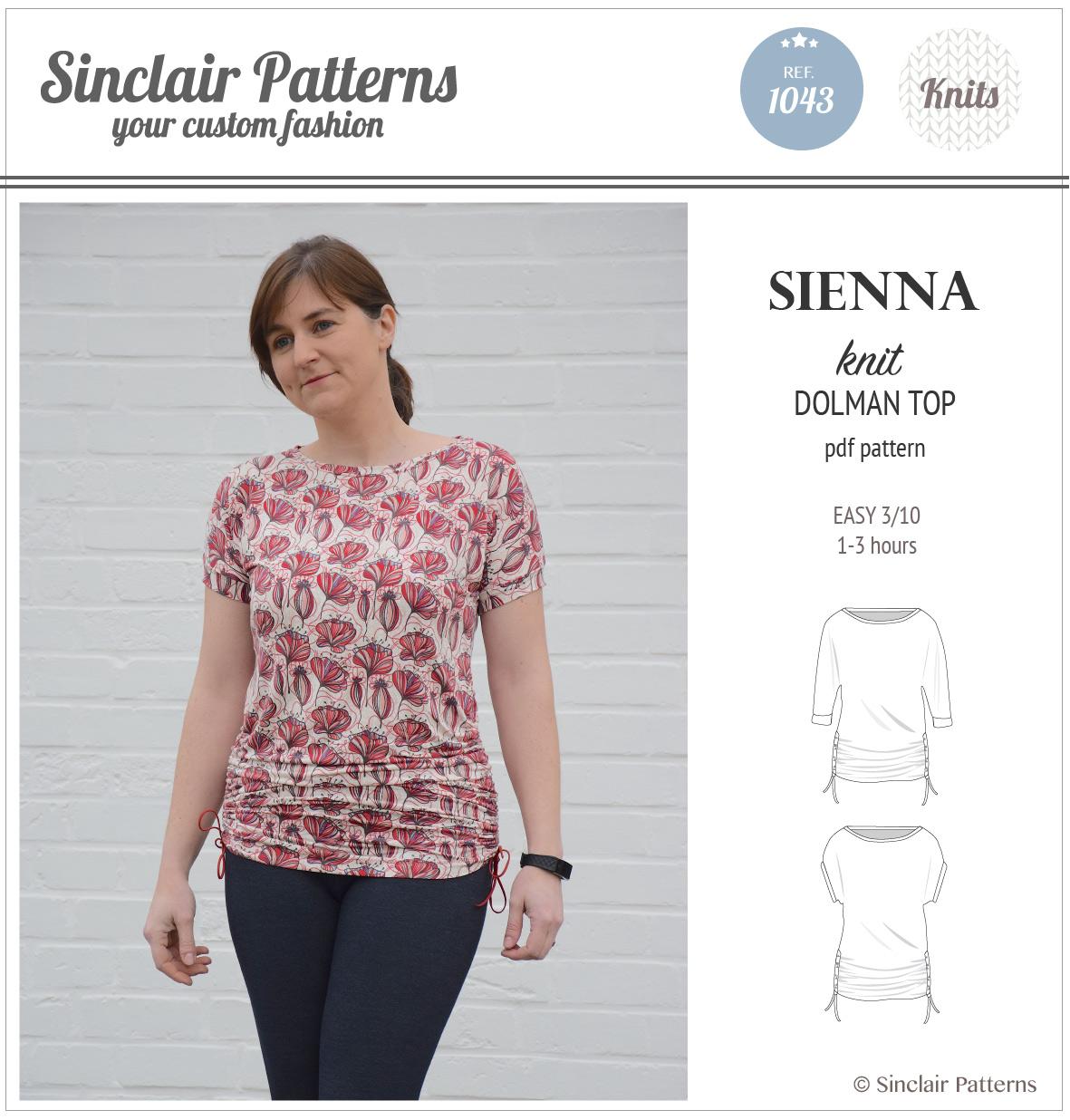 PDF Sewing pattern Sinclair Patterns S1043 Sienna drawstring dolman top