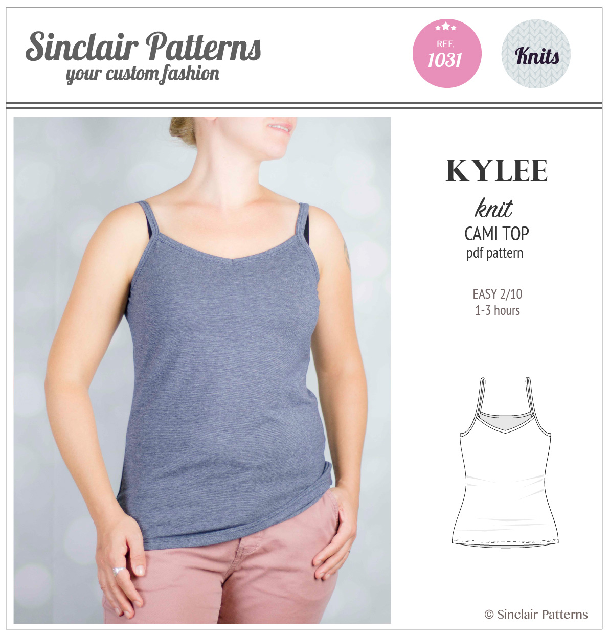 Kylee knit classic cami top (PDF) – Sinclair patterns
