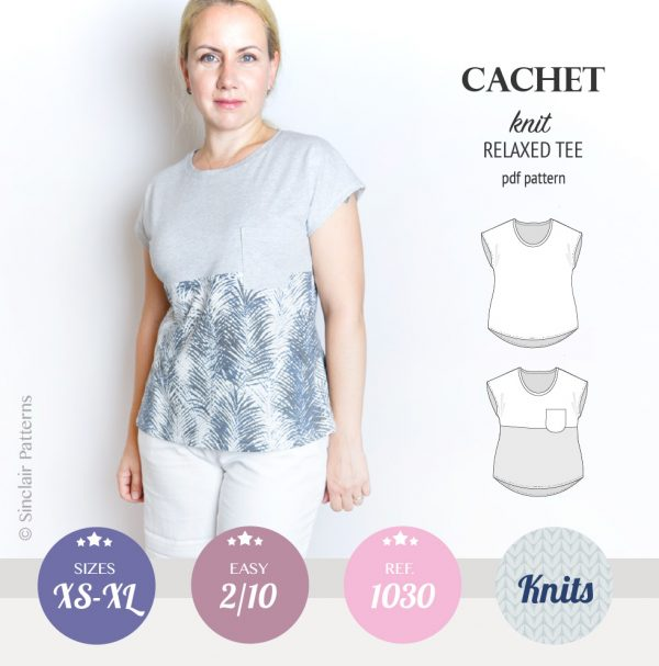 PDF Sewing pattern Sinclair Patterns S1030 Cachet color blocked tee with pocket