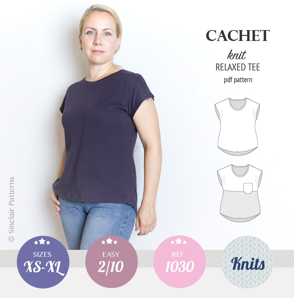 Cachet relaxed cut knit tee color blocked with a pocket (PDF ...
