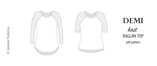 PDF Sewing pattern Sinclair Patterns S1044 Demi semi fitted knit raglan tee