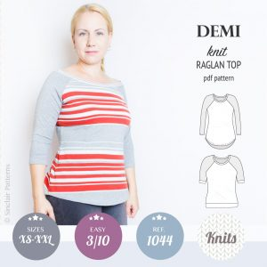 PDF Sewing pattern Sinclair Patterns S1044 Demi semi fitted knit raglan top