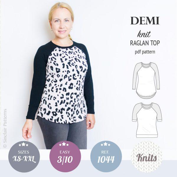 PDF Sewing pattern Sinclair Patterns S1044 Demi semi fitted knit raglan top