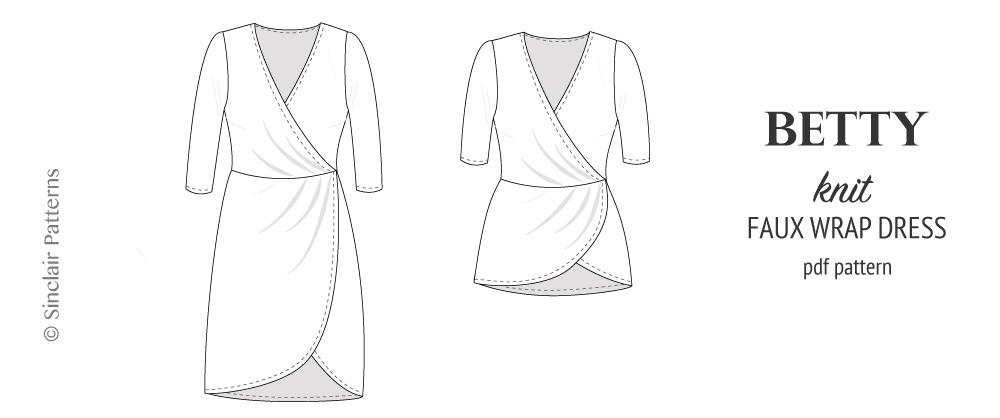 PDF Sewing pattern Sinclair Patterns S1045 Betty knit faux wrap dress