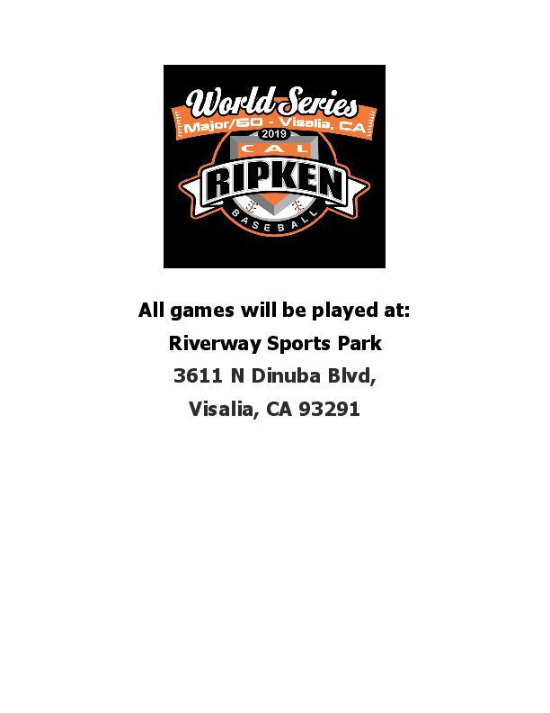 Cal Ripken World Series 2019 12u