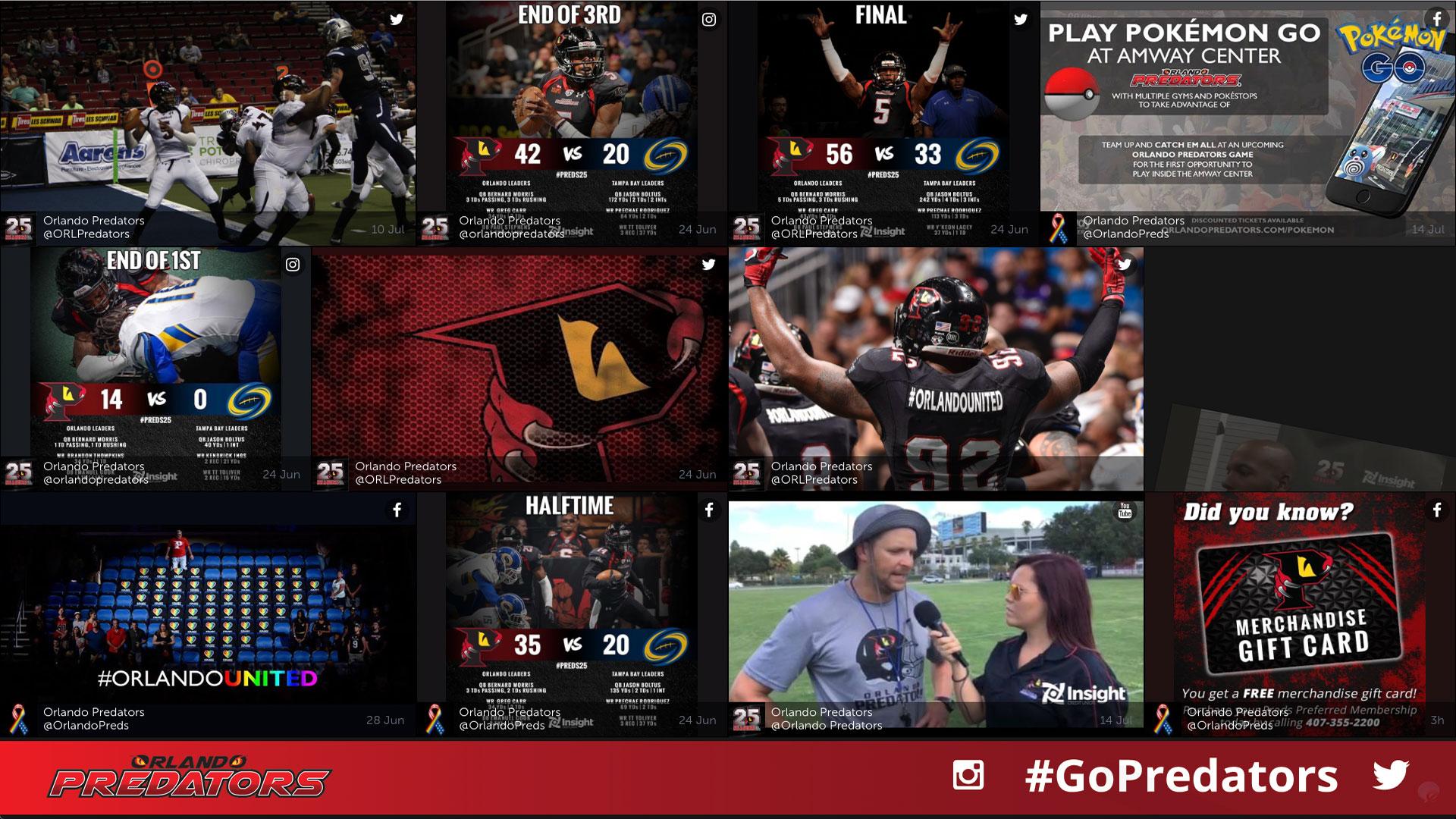 live sports social media wall