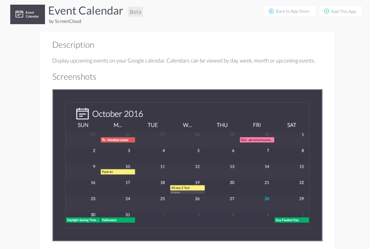 Event calendar digital signage app