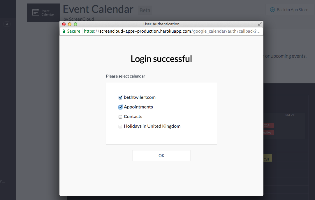 Event calendar app Google integration