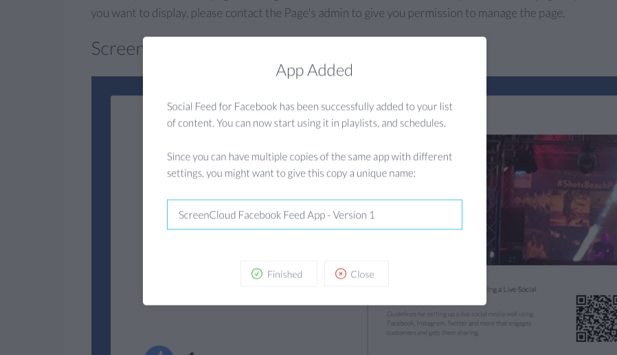Facebook app setup