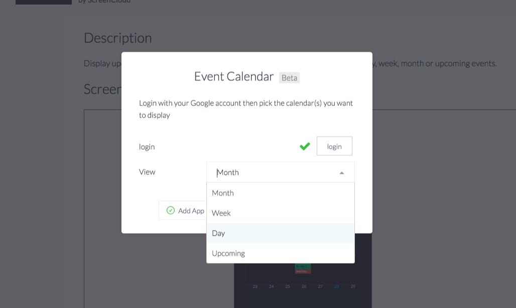 Event calendar setup