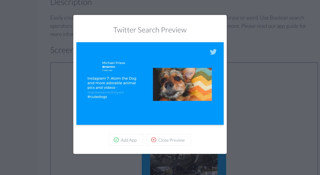 Twitter search preview app