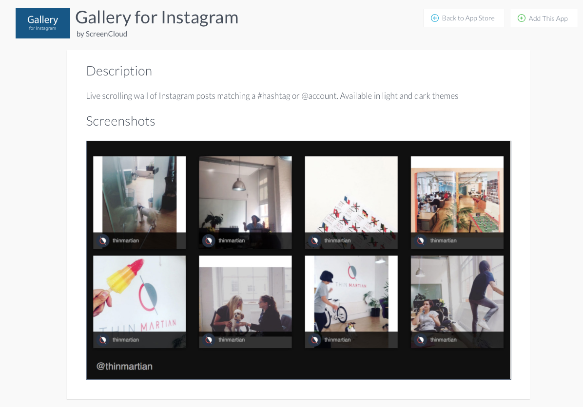 Instagram gallery app for digital signage screens