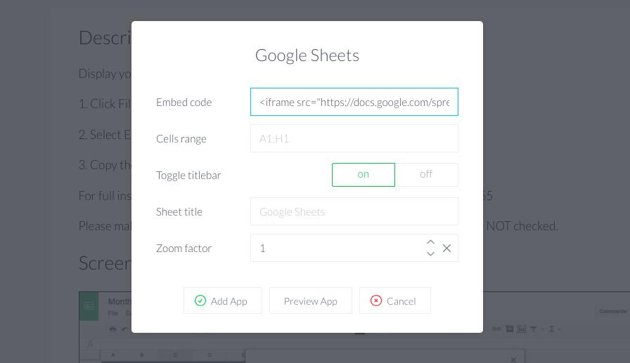 Embed Google sheets