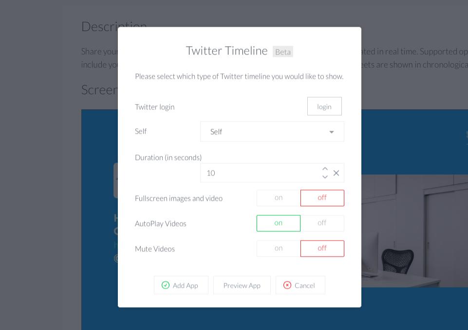 Twitter timeline app setup panel