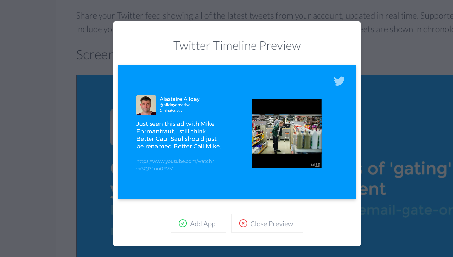 Preview of Twitter Timeline app