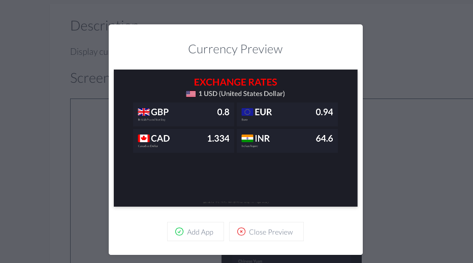 Currency app preview in playlist