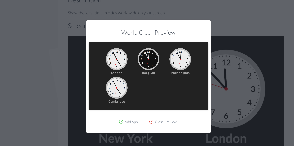 World clock screen