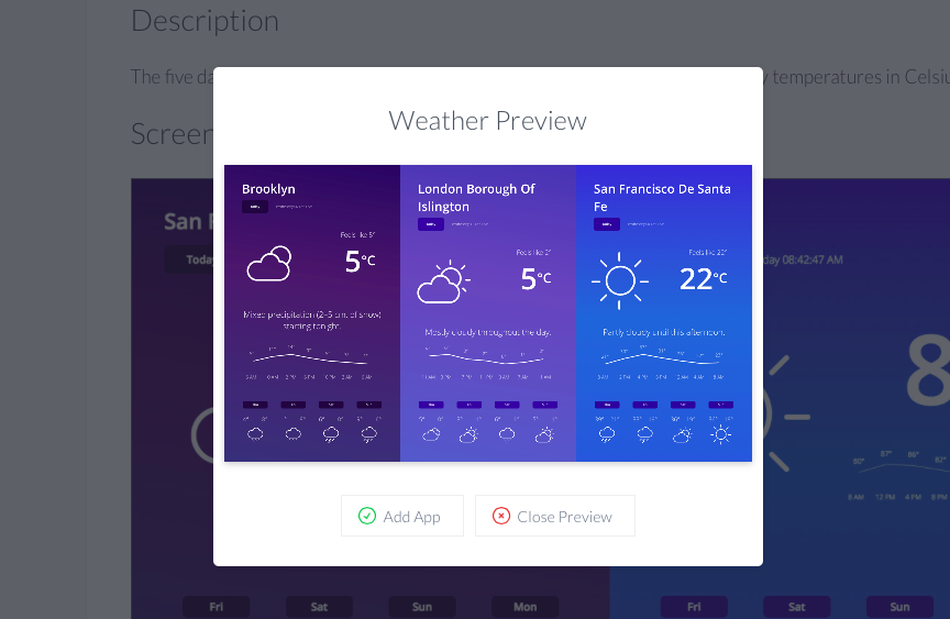 Weather app preview