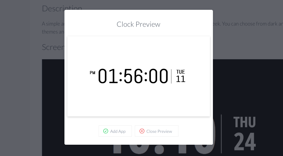 Digital clock preview
