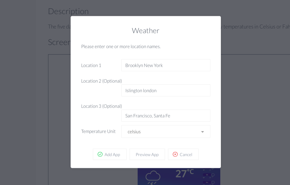 Weather app city choices
