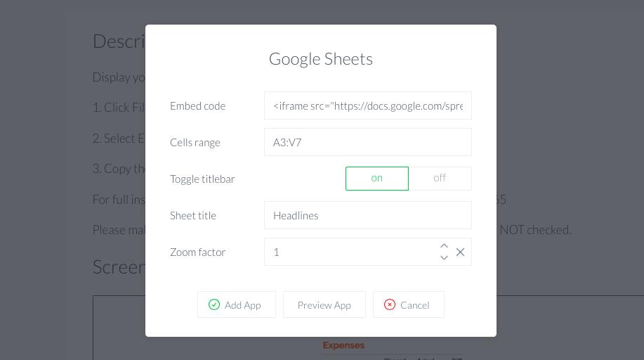 Google sheets on screen