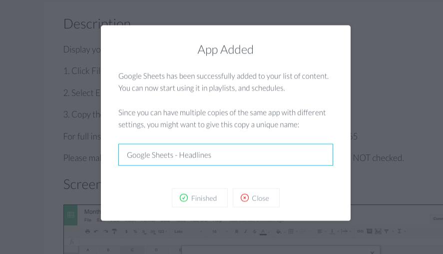 Google sheets add app