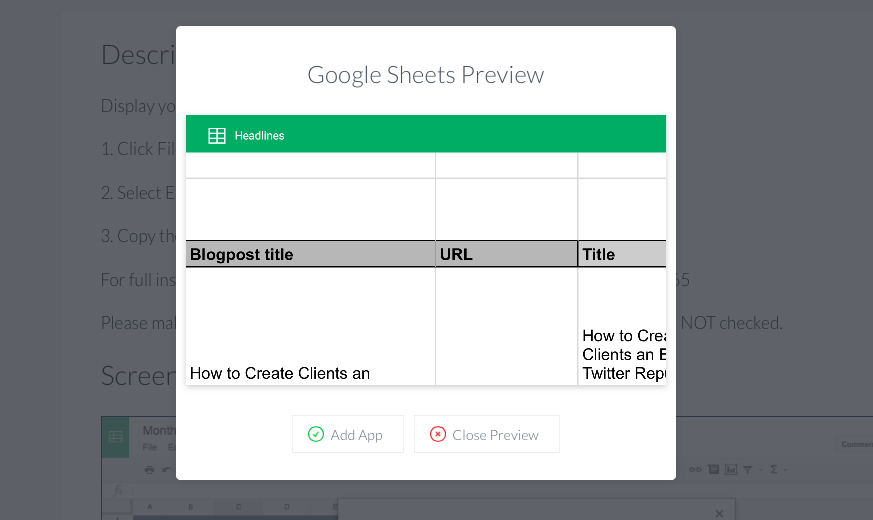 Google sheets app