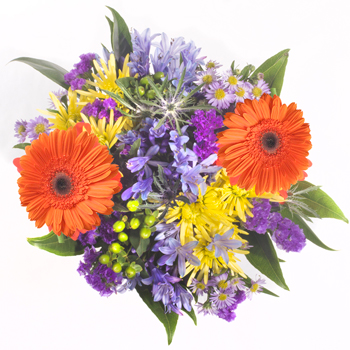 Bridal Centerpieces Orange and Purple Flowers