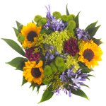 Purple Flowers and Sunflowers Bridal Centerpieces