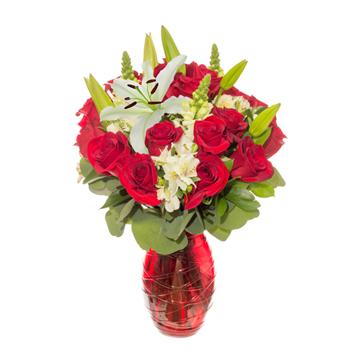Cherished Lovers Red Rose Arrangement