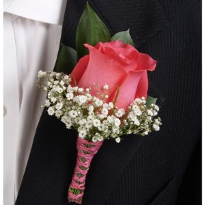 Classic Rose Dark Pink and Light Pink Boutonniere and Corsage Wedding Package