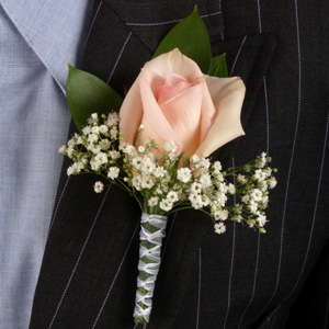 Classic Rose Light Pink and Yellow Boutonniere and Corsage Wedding Package