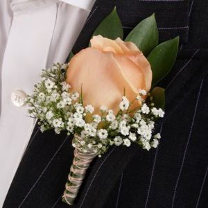 Classic Rose Peach Boutonniere and Corsage Wedding Package