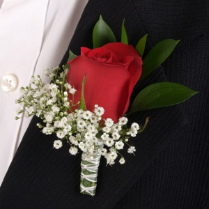 Classic Rose Red and White Boutonniere and Corsage Wedding Package