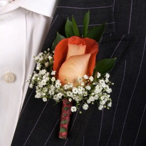 Classic Rose Terracotta and Ivory Boutonniere and Corsage Wedding Package