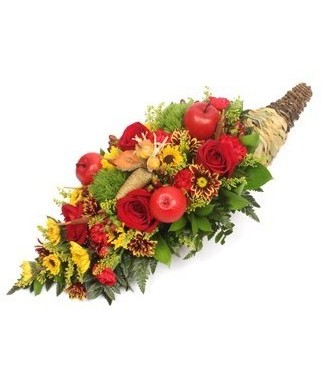 Thanksgiving Cornucopia with Apples and Roses