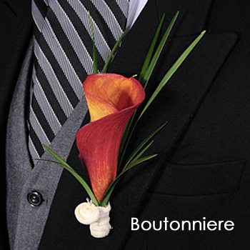 Mini Calla Lily Sunset Boutonniere and Corsage Pack