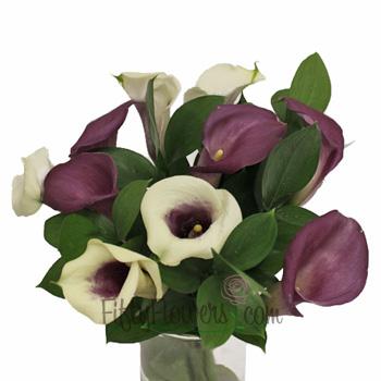 Purple and Cream Mini Callas Centerpieces