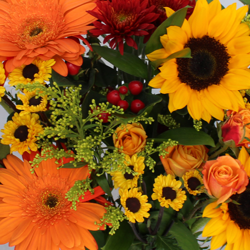 Bridal Centerpieces Sunflowers and Orange Flowers